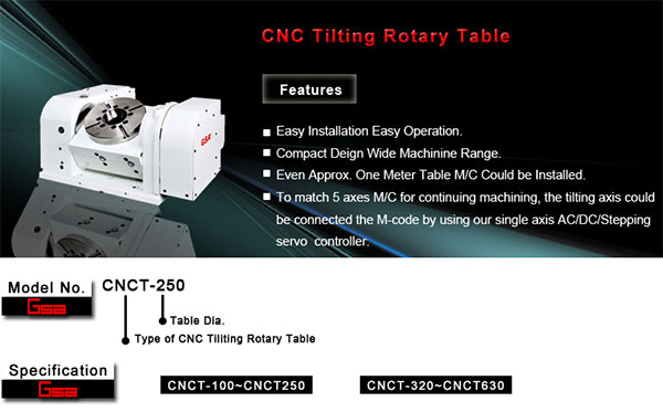 Golden Sun - CNC Tilting Rotary Table - CNCT - 100 - 630