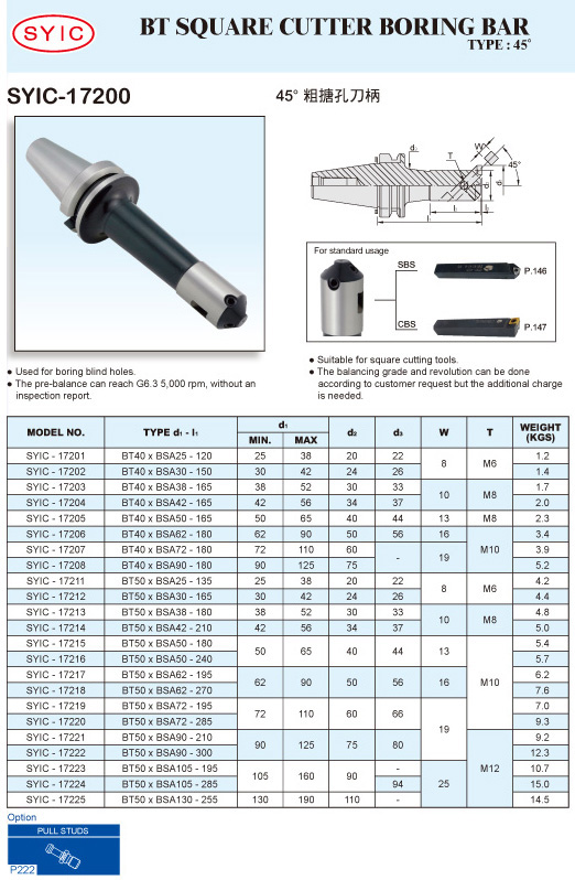 SYIC - Boring Head Series - SYIC-17200 - BT Square Cutter Boring Bar