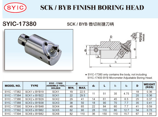 SYIC - Boring Head Series - SYIC-17380 - SCK / BYB Finish Boring Head