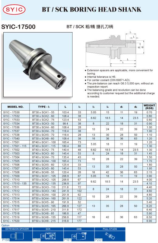 SYIC - Boring Head Series - SYIC-17500 - BT / SCK Boring Head Shank