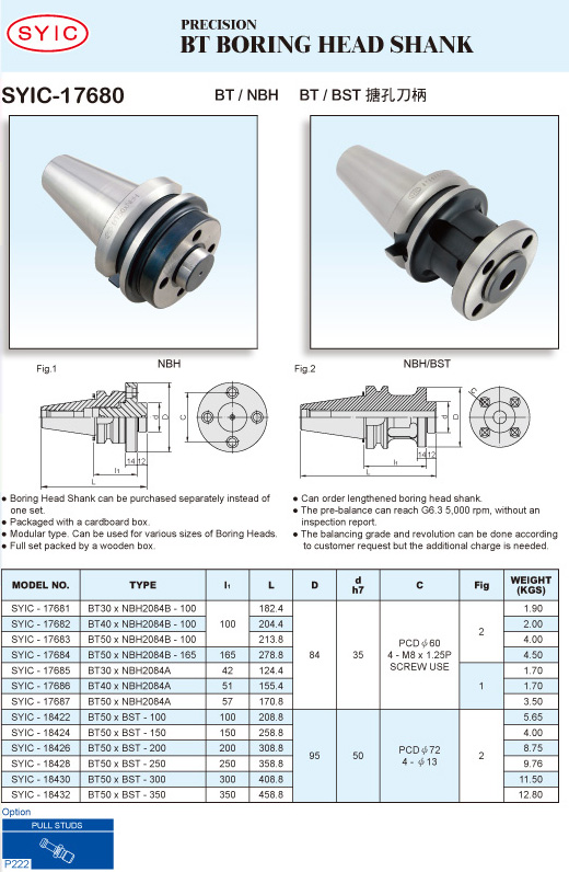 SYIC - Boring Head Series - SYIC-17680 - BT Boring Head Shank