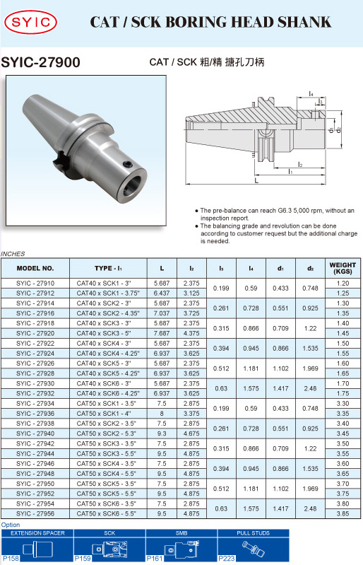 SYIC - Boring Head Series - SYIC-27900 - CAT / SCK Boring Head Shank