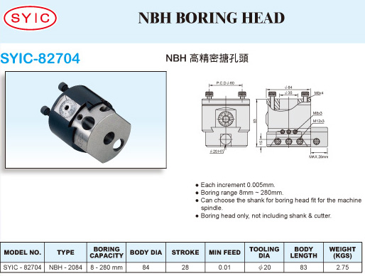 SYIC - Boring Head Series - SYIC-82704 - NBH Boring Head