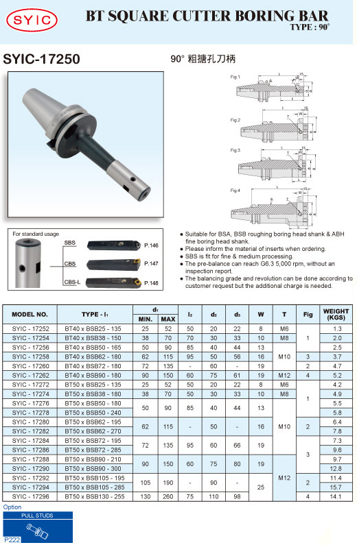 SYIC - Boring Head Series - SYIC-17250 - BT Square Cutter Boring Bar