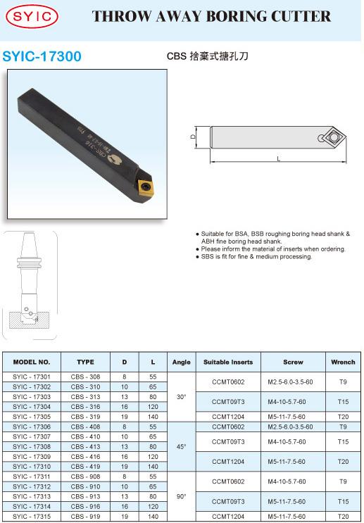 SYIC - Boring Head Series - SYIC-17300 - Throw Away Boring Cutter