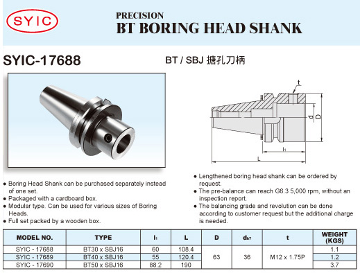 SYIC - Boring Head Series - SYIC-17688 - BT Boring Head Shank