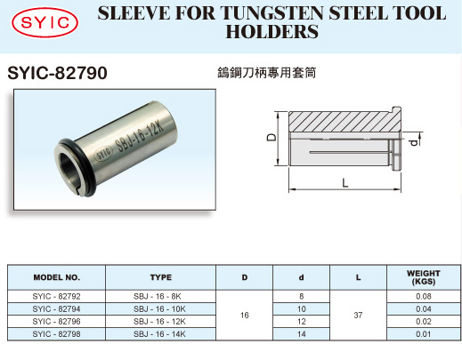 SYIC - Boring Head Series - SYIC-82790 - Sleeve for Tungsten Steel Tool Holders