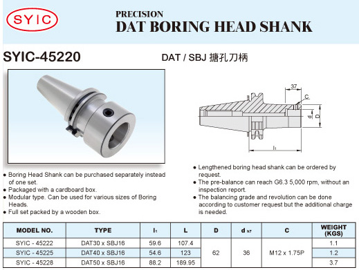 SYIC - Boring Head Series - SYIC-45220 - DAT Boring Head Shank