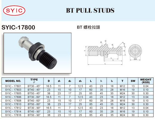 SYIC - Tool Holder Accessories - SYIC-17800 - BT Pull Studs