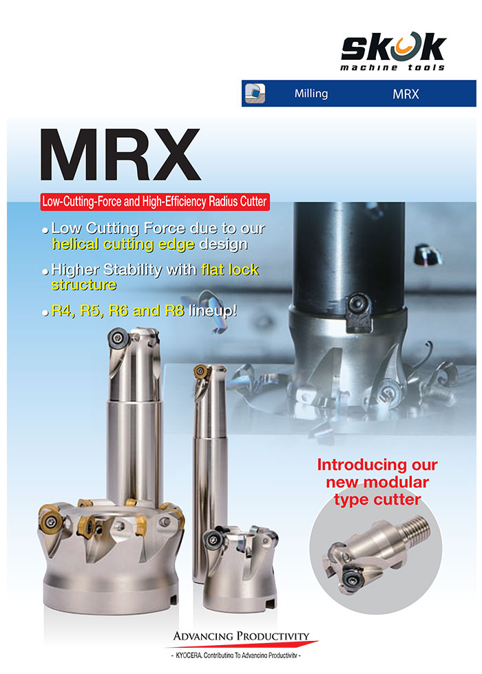 Kyocera Cutting Tools - Milling Applications - MRX - Radius Cutter with Low Cutting Force