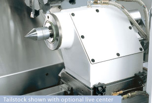 Tailstock shown with optional live center