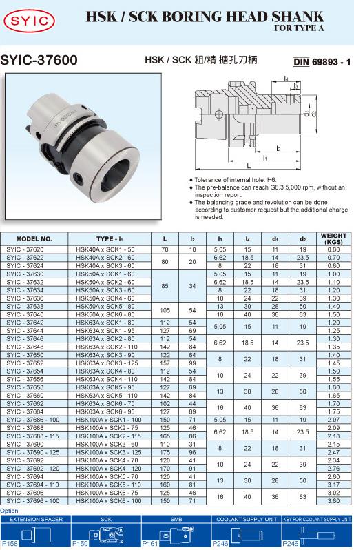 SYIC - Boring Head Series - SYIC-37600 - HSK / SCK Boring Head Shank