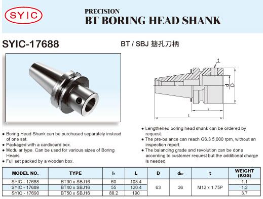 SYIC - Boring Head Series - SYIC-17688 - BT Boring Head Shank